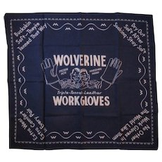 Wolverine Work Gloves Advertising Blue Bandana Hankie Handkerchief Pigksin Pete & Horsehide Harry - Red Tag Sale Item