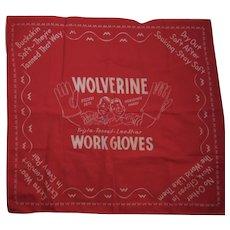 Wolverine Work Gloves Advertising Red Bandana Hankie Handkerchief Pigksin Pete & Horsehide Harry - Red Tag Sale Item