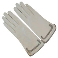 White Kid Leather Gloves with Rhinestones by MW Hand Made Ladies Gloves