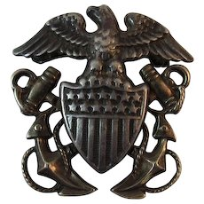 US Navy Officer Eagle Pin NS Meyer New York Shield and Anchors Sterling Silver & Gold Filled Nautical