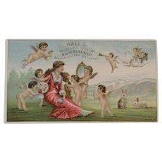 Hall's Vegetable Sicilian Hair Renewer Victorian Advertising Trade Card