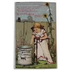 Nestle's Milk Food Mother Goose Series Victorian Advertising Trade Card with Baby