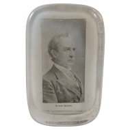 Barnes & Abrams Edwin Booth Glass Paperweight Syracuse, NY 1882 patent date