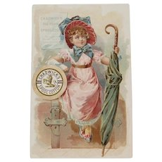 Chadwick's Spool Cotton Victorian Advertising Trade Card Girl with Suitcase and Umbrella