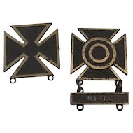 Sterling Sharpshooter Badge with Rifle Bar and Marksmanship Badge US Military Marksman
