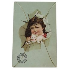 Willimantic Kitty Cat & Girl Victorian Advertising Trade Card