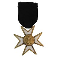 Eagle on Star Mason's Medal White Enamel on Gold Wash Masonry Masons Mason
