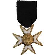 Eagle on Star Mason's Medal White Enamel on Gold Wash Masonry Masons Mason