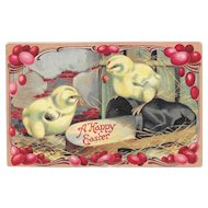 German Embossed Easter Postcard Chicks, Ladybug and a Slipper Germany Postcards