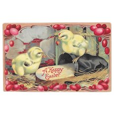 German Embossed Easter Postcard Chicks, Ladybug and a Slipper Germany Postcards