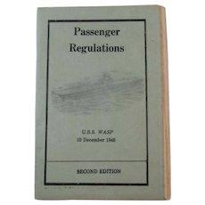 1945 WWII USS WASP Passenger Regulations for Troop Transport Booklet World War II 1945