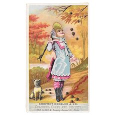 Godfrey Keebler & Co Girl With Dog Victorian Ad Trade Card