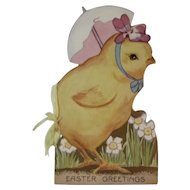 Easter Greetings Booklet with Chick and Egg Parasol Embossed Cover Made in USA