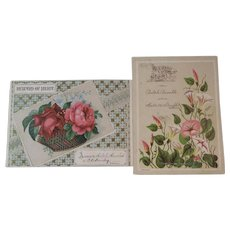 2 Victorian Reward of Merit Large Cards with Pink Roses and Flowers