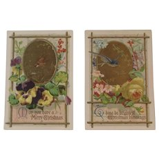 2 Victorian Christmas Trade Cards from John Wanamaker Philadelphia Birds and Flowers