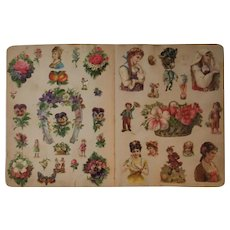 1880s 4 Victorian Scrapbook Pages Full of Diecuts Die Cuts