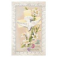 1910 John Winsch Easter Postcard Dove Lilies and Cross