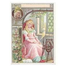 Lion Coffee Sleeping Beauty Victorian Advertising Trade Picture Card with Cat & Spinning Wheel