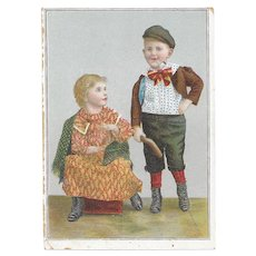 Lion Coffee The Yankee Boy and Girl Traveling in Irish Costume Victorian Advertising Trade Picture Card Series Harry and Carrie