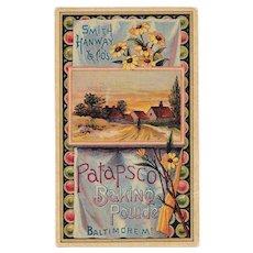 Patapsco Baking Powder Victorian Trade Card Baltimore, Maryland Chromolithograph Cottage Scene