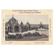 1900 Paris Exposition Lucas Paints Trade Card L Champ De Mars