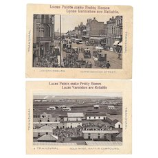 2 Lucas Paints Trade Cards Transvaal Gold Mine and Johannesburg South Africa