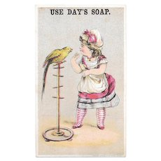 Girl & Parrot Day's Soap Victorian Trade Card