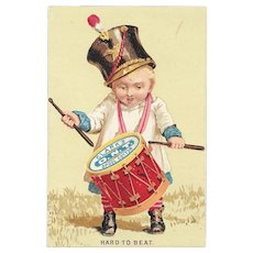 Clark's Little Drummer Boy Victorian Trade Card ONT Spool Cotton Sewing Thread Hard to Beat O.N.T.