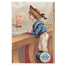 Clark's Sailor Boy and Sailboat Victorian Trade Card ONT Spool Cotton Sewing Thread O.N.T.
