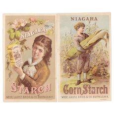 2 Niagara Starch Victorian Advertising Trade Cards Boy and Girl Ear of Corn Wesp, Lautz Bros & Co, Buffalo, NY