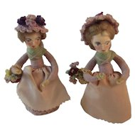 2 Hand Made Crochet Skirt and Spun Cotton Dolls Holding Flower Baskets