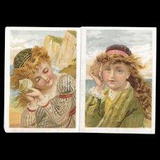 2 Atlantic & Pacific Tea Victorian Trade Cards Children Listening to Sea Shells Seashells at the Seashore Beach A&P Co