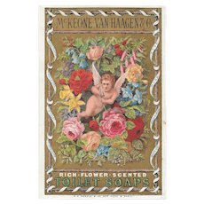Victorian Cupid Trade Card Cupid Flower Scented Toilet Soaps by McKeone Van Haagen & Co
