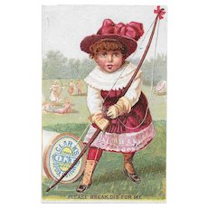 Clark's Archery Girl Victorian Trade Card ONT Spool Cotton Sewing Thread Please Break Dis for Me O.N.T.