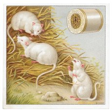 J & P Coats White Mice Victorian Trade Card Best Six Cord Sewing Thread Mouse