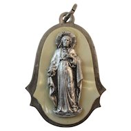 Italian Jesus Religious Medal with Mother of Pearl Silver Plate Italy Catholic Pendant