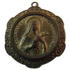 St Theresa of the Child Jesus Religious Catholic Saint Brass Medal Pendant