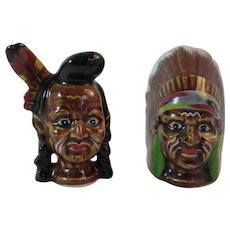 Indian Chief Salt and Pepper Shakers Vintage Kitchen Kitchenware Tableware