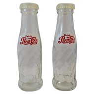 Drink Pepsi Cola Bottle Salt and Pepper Shakers Glass Pepsi-Cola