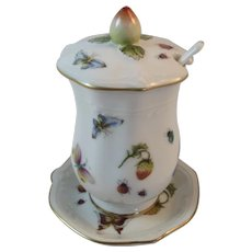 Strawberry & Butterfly Jam Pot and Underplate Porcelain Butterflies and Strawberries
