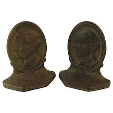 1928 Connecticut Foundry George Washington Cast Iron Book Ends Bookends