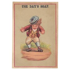 Boy on Roller Skates Victorian Trade Card for Day's Soap