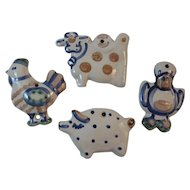 MA Hadley Pottery Country Farm Animals Ornaments Wall Art Duck Rooster Cow Pig Vintage Kitchen