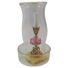 Judy Berman Chrysnbon Dollhouse Miniature Candlestick with Hurricane Globe Candle Stick