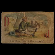 Victorian Alphabet Litho Name Block D is for Dick Wood with Chromolithograph Scene