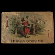 Victorian Alphabet Litho Name Block I is for Isabella Wood with Chromolithograph Scene