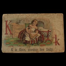 Victorian Alphabet Litho Name Block K is for Kate with Doll Wood with Chromolithograph Scene