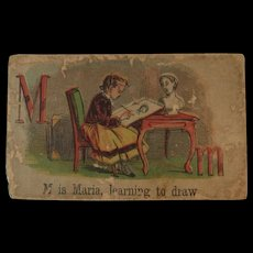 Victorian Alphabet Litho Name Block M is for Maria Wood with Chromolithograph Scene