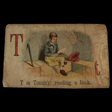 Victorian Alphabet Litho Name Block T is for Tommy with Chromolithograph Scene
