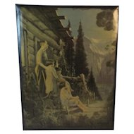 L Goddard Large Celluloid on Tin Print of Dog and Family at Mountain Cabin